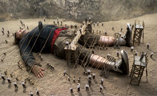 "Jack Black, playing the title role, is tied up by the Lilliputians in a scene from ""Gulliver's Travels.''"