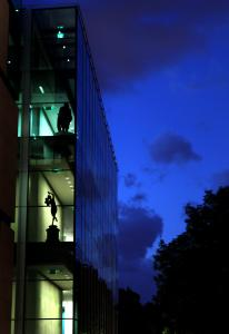 The Museum of Fine Arts' new Art of the Americas Wing at twilight.