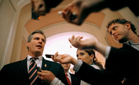 Senator Scott Brown spoke with reporters Monday after a closed session on the New START pact. His backing of the treaty and other issues has alienated some of his former supporters.