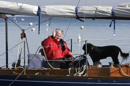 Edward M. Kennedy and Splash enjoyed the late senator's last sail of the season off Cape Cod in 2007.