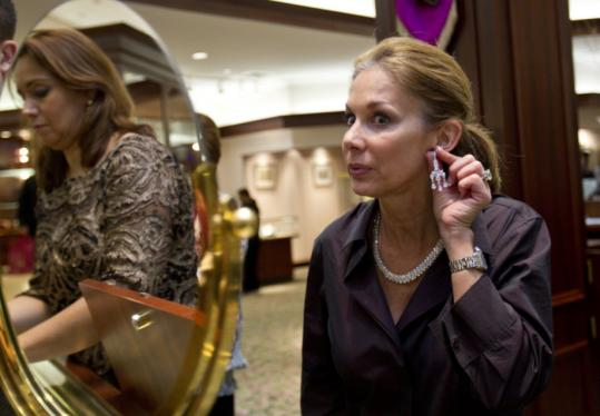 """Dayle Goldstein wore expensive jewelry that Long's Jewelers described as """"heirloom chic'' at a recent holiday party hosted by the company."""
