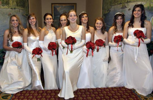 The 2010 debutantes at the Boston Cotillion (from left): Sarah Elizabeth Dale of Weston, Stephanie Katharine Moroney of Manchester by the Sea, Kathryn Carr Whitelaw of Weston, Constance Gardner Minot of Boston, Katherine Winslow L'Heureux of Dover, Amelia Marie Metcalf of Newton, Mary Livingston Kinsella of Dover, Francesca Cabot Metcalf of Newton, and Olivia Paine Metcalf of Newton.