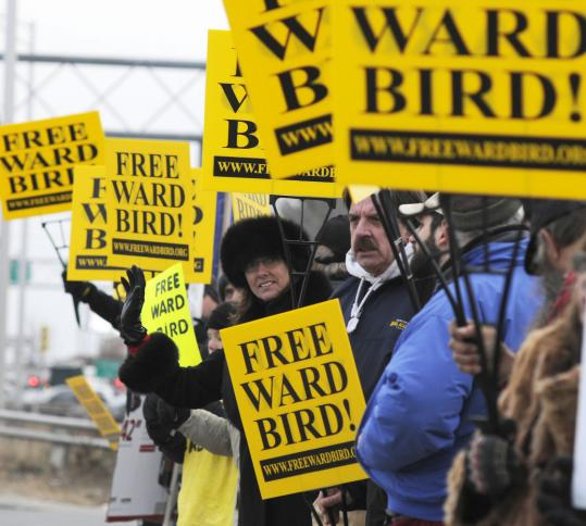 More than 100 supporters of Ward Bird (in photo right) held a rolling rally Sunday that ended in Manchester, N.H. Many of them say his punishment does not fit the crime.