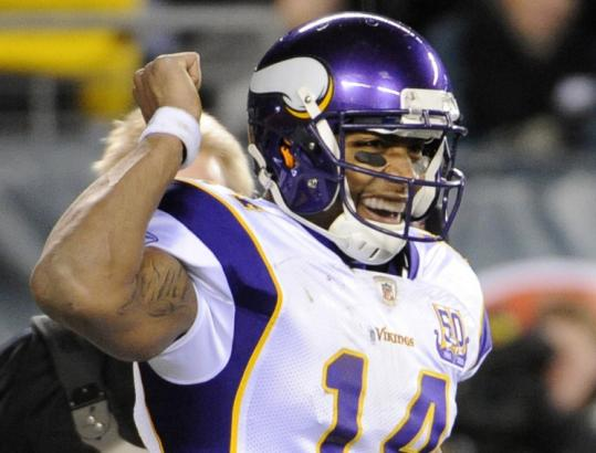 Vikings quarterback Joe Webb, who was playing in place of Brett Favre, is pleased after scoring a second-half touchdown.