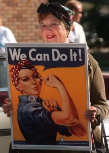 Geraldine Doyle with Rosie the Riveter in Lansing, Mich.