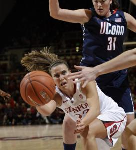 Stanford's Jeanette Pohlen (left), who scored 31 points, was a handful against UConn.