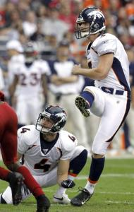 Needham native Steven Hauschka launches a field goal during his first game with Denver.