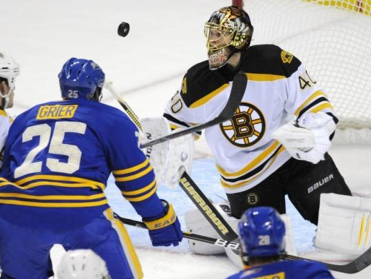 Tuukka Rask watched a lot of pucks in the first period, then watched the rest of the game from the bench.