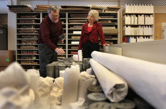 Ronald Grim and Janet Spitz of the Boston Public Library took inventory of the institution's stock of cartographic artifacts.