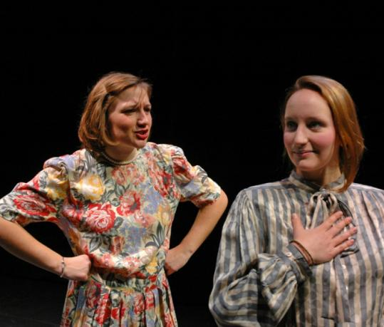 "Wellesley Summer players Margaret Dunn (left) and Ashley Gramolini rehearse a scene in ""The Last Night of Ballyhoo.''"
