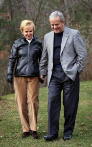 Radio newscaster Gary LaPierre walks with his wife, Peg, at their Ipswich home.