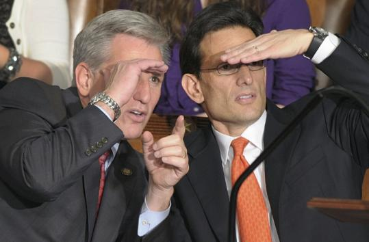 Incoming House majority leader Eric Cantor (right) and incoming House majority whip Kevin McCarthy yesterday.