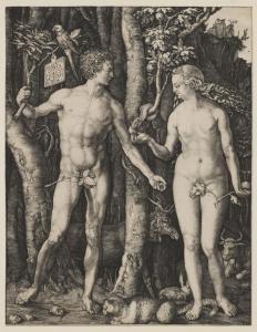 Albrecht Dürer's 'Adam and Eve' shows his Gothic and Italian Renaissance influences.