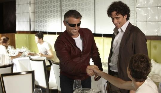 """Matt LeBlanc (left, with Stephen Mangan and Tamsin Greig) plays himself in Showtime's """"Episodes.''"""