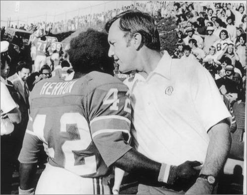 1974 continued Running backs 'Mini' Mack Herron (left) and Sam 'Bam' Cunningham each rushed for more than 800 yards on the season. The 5-foot-5-inch Herron's total of 2,444 all-purpose yards broke the NFL record set by Gale Sayers in 1966. All-Pro guard John Hannah started all 14 games in his second season with the team.