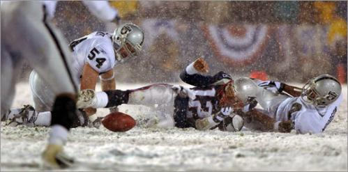 2001 continued Enter the playoffs. On a snowy night in the final game at Foxboro Stadium against the Raiders, the Brady 'Tuck Rule' was born. Adam Vinatieri kicked a 47-yard field goal to tie it, followed by a 23-yarder in overtime for a 16-13 victory in one of most memorable NFL divisional playoff battles in history. Next came a dramatic 24-17 AFC Championship win over the Steelers in Pittsburgh. Bledsoe came off the bench after Brady suffered an ankle sprain and threw a touchdown pass that helped send New England back to the Super Bowl to take on the high-powered Rams. Brady led a fourth-quarter drive that resulted in a 48-yard kick by Vinatieri that split the uprights with no time left to give New England its first Super Bowl title.