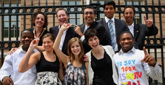 The first class of El Sistema USA's Abreu fellows posed outside New England Conservatory last June. Back row, from left: Rebecca Levi, David Malek, Alvaro Rodas, Jonathan Govias, and Daniel Berkowitz. Front row, from left: Stanford Thompson, Kathryn Wyatt, Christine Witkowski, Lorrie Heagy, and Dantes Rameau.