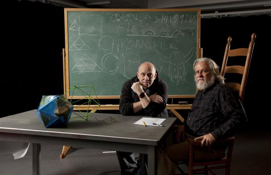 Thomas Derrah (left) and D.W. Jacobs at the ART's Loeb Drama Center, where Derrah will play R. Buckminster Fuller, the father of the geodesic dome, in a play written and directed by Jacobs.