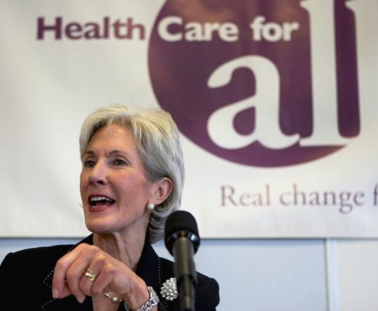 """Secretary of Health and Human Services Kathleen Sebelius praised the health care law yesterday in Boston. """"People keep calling [the repeal vote] political theater, but unfortunately the theater has huge consequences for the American public,'' she said."""