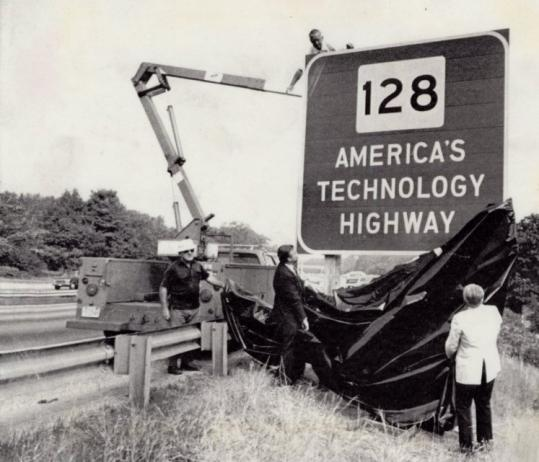 State officials unveiling Route 128's new nickname in 1982 were highlighting local companies.