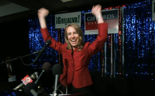 Gabrielle Giffords celebrated her victory in her first House race in Tucson in 2006. She has succeeded as a moderate.