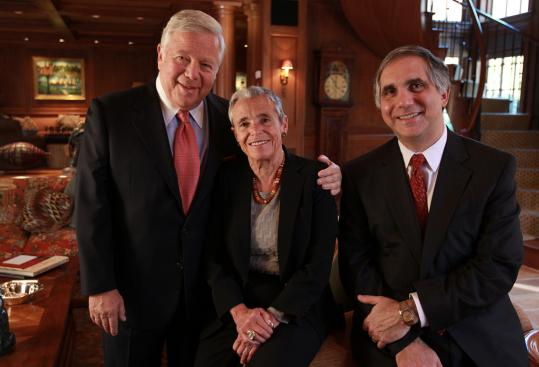 Robert and Myra Kraft have a long history of involvement with Partners HealthCare. Chief executive Gary Gottlieb (right) estimates the family's latest donation will support more than 100 primary care providers.