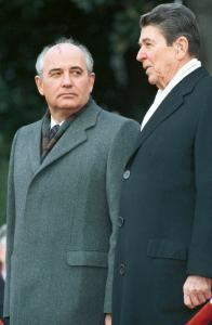 Mikhail Gorbachev (left), general secretary of the Soviet Union with President Reagan at the White House in 1987, oversaw many of the reforms that led to the collapse of the Soviet Union.