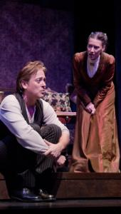 "Mark Shanahan and Andrea Maulella star in ""Tryst'' at Merrimack Repertory Theatre."