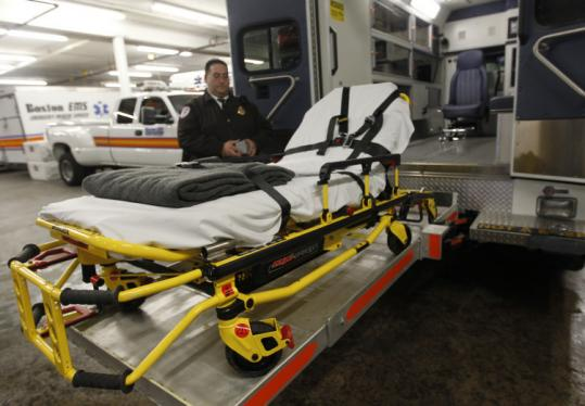 Boston EMS Captain Jose A. Archila showed the modifications that transformed this ambulance into a specially equipped vehicle that can transport extremely heavy patients.