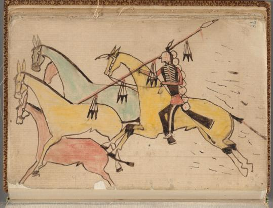In this ledger drawing, a warrior captures three mules under fire.
