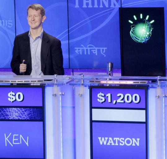 Former champions Ken Jennings (left) and Ben Rutter (not pictured) will challenge IBM's supercomputer, dubbed Watson, in a