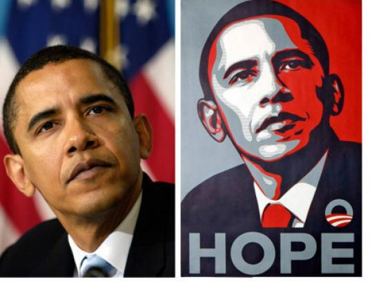 """The 2006 Associated Press photo and Fairey's """"Obama Hope'' poster."""