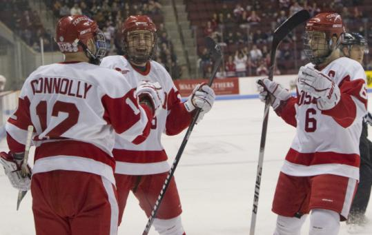 BU's Chris Connolly fired up his teammates with the Terriers' first goal, and he added another in the second period.