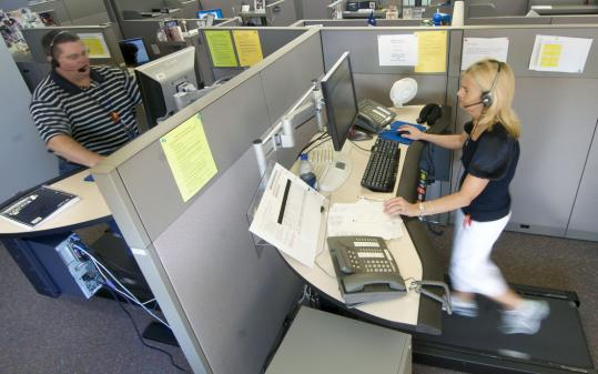 Mutual of Omaha has installed treadmill desks to get employees to walk while they work.