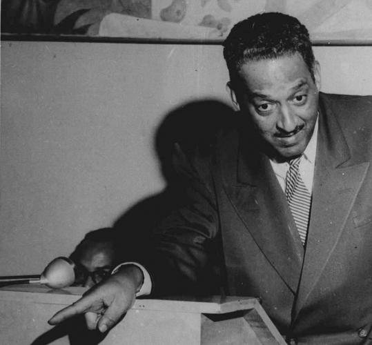 Talking to journalists in New York in 1955, Thurgood Marshall was chief counsel of the NAACP. In 1967 he became the first African-American named to the Supreme Court.