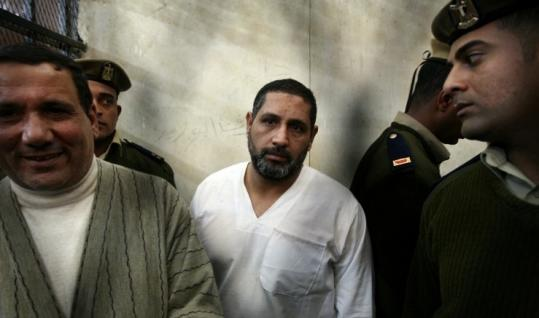 Mohammed Ahmed Hassanein (center) was convicted in the killings last January of six Christians and a Muslim guard.