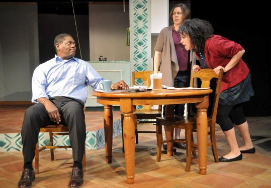 """Richard (Johnny Lee Davenport) and Jean (Christine Power, center) are parents to teen Melody (Lori Tishfield) in """"Neighbors.''"""