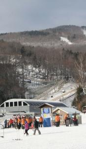 Jackson Gore Inn is steps from the lift and the learn-to-ski programs at Okemo Mountain Resort (pictured).
