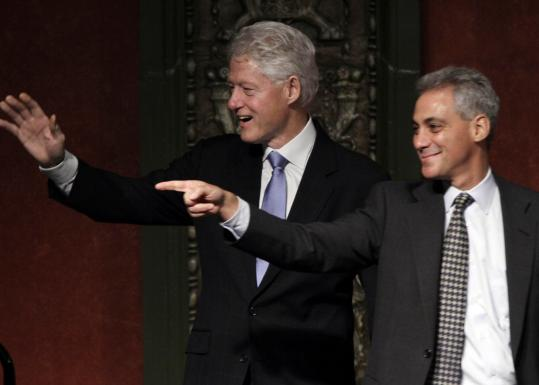 Former president Bill Clinton boosted his onetime aide Rahm Emanuel at a rally for the Chicago mayoral candidate yesterday.