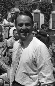 Sargent Shriver talks to prospective Peace Corps volunteers in training at Rutgers University in 1961.