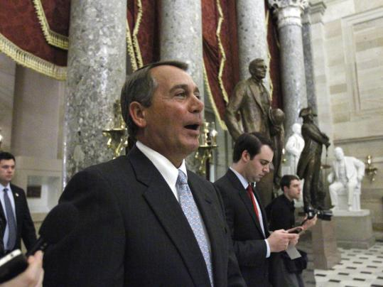 "House Speaker John Boehner of Ohio praised the respectful tone of debate yesterday and added, ""Let's stop payment on this check before it can destroy more jobs and put us into a deeper hole.''"