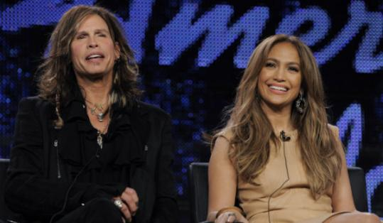 "New judges Steven Tyler and Jennifer Lopez (shown at an ""American Idol'' press event) made their debuts last night."