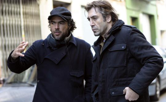 "Javier Bardem (right) with director Alejandro González Iñárritu on the Barcelona set of ""Biutiful.'' Iñárritu calls Bardem ""one of best actors in the world'' and says that he wrote the part of Uxbal with him in mind."