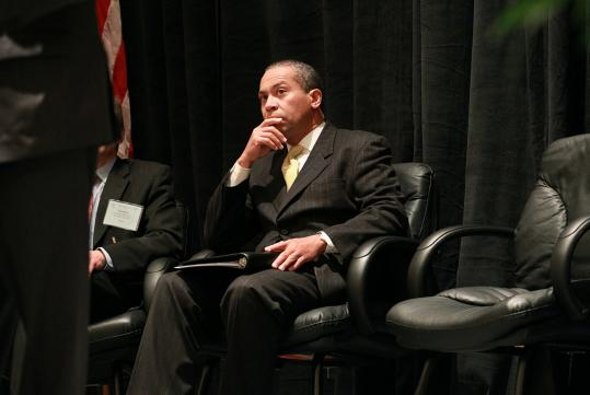 Governor Deval Patrick outlined his budget proposal at a meeting of the Massachusetts Municipal Association yesterday at the Hynes Convention Center.