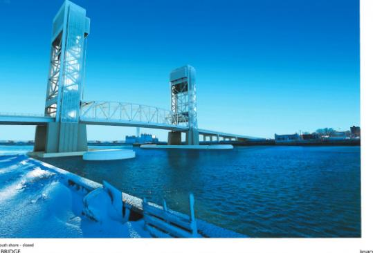 A rendering of the sort of vertical-lift bridge that state engineers prefer for Fore River.