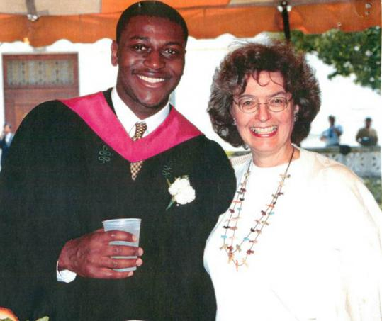 Jocelyn Spragg with Bradley Carthon, who participated in a program for students from groups underrepresented in the sciences and received his medical degree from Harvard in 2005.