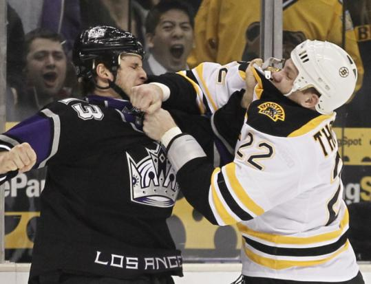 The Bruins lost to the Kings, but Shawn Thornton made sure he got some first-period shots in against Kyle Clifford.