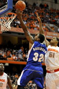 Jeff Robinson found a lane to the basket during Seton Hall's upset win over Syracuse.