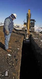 UMass Archaeological Services' Timothy Barker reviews the dig in Newburyport.