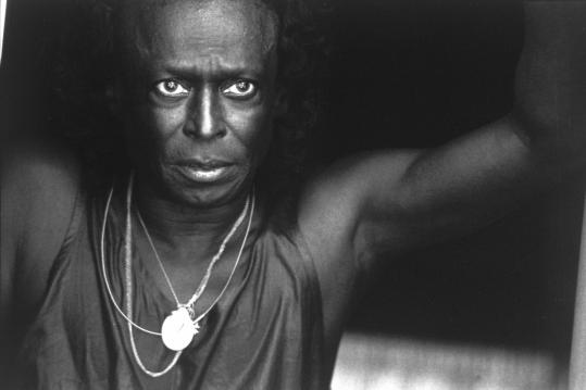 Herb Snitzer's photograph of Miles Davis at the Newport Jazz Festival in 1990 is part of an exhibit at Gallery Kayafas.